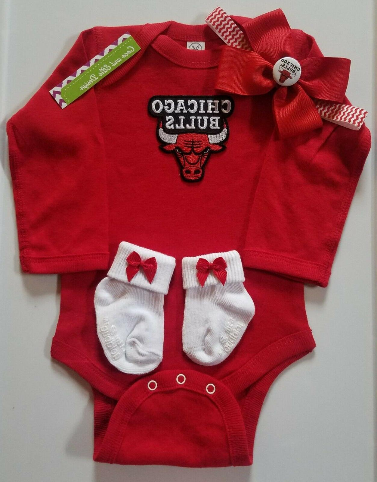 bulls baby infant outfit girl bulls baby