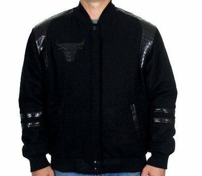 chicago bulls nba jacket all black wool