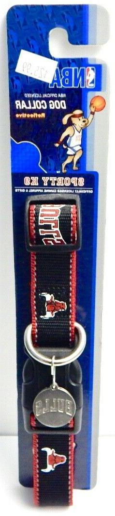 """CHICAGO BULLS NBA PET DOG COLLAR w/ ID TAG Size M/L 16""""-28"""""""