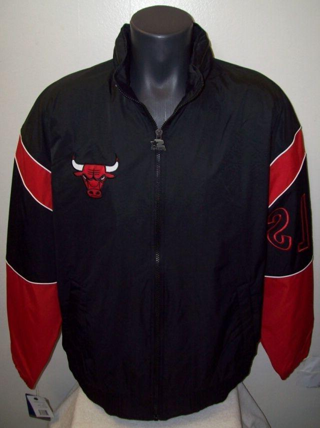 chicago bulls starter jacket gust nylon black