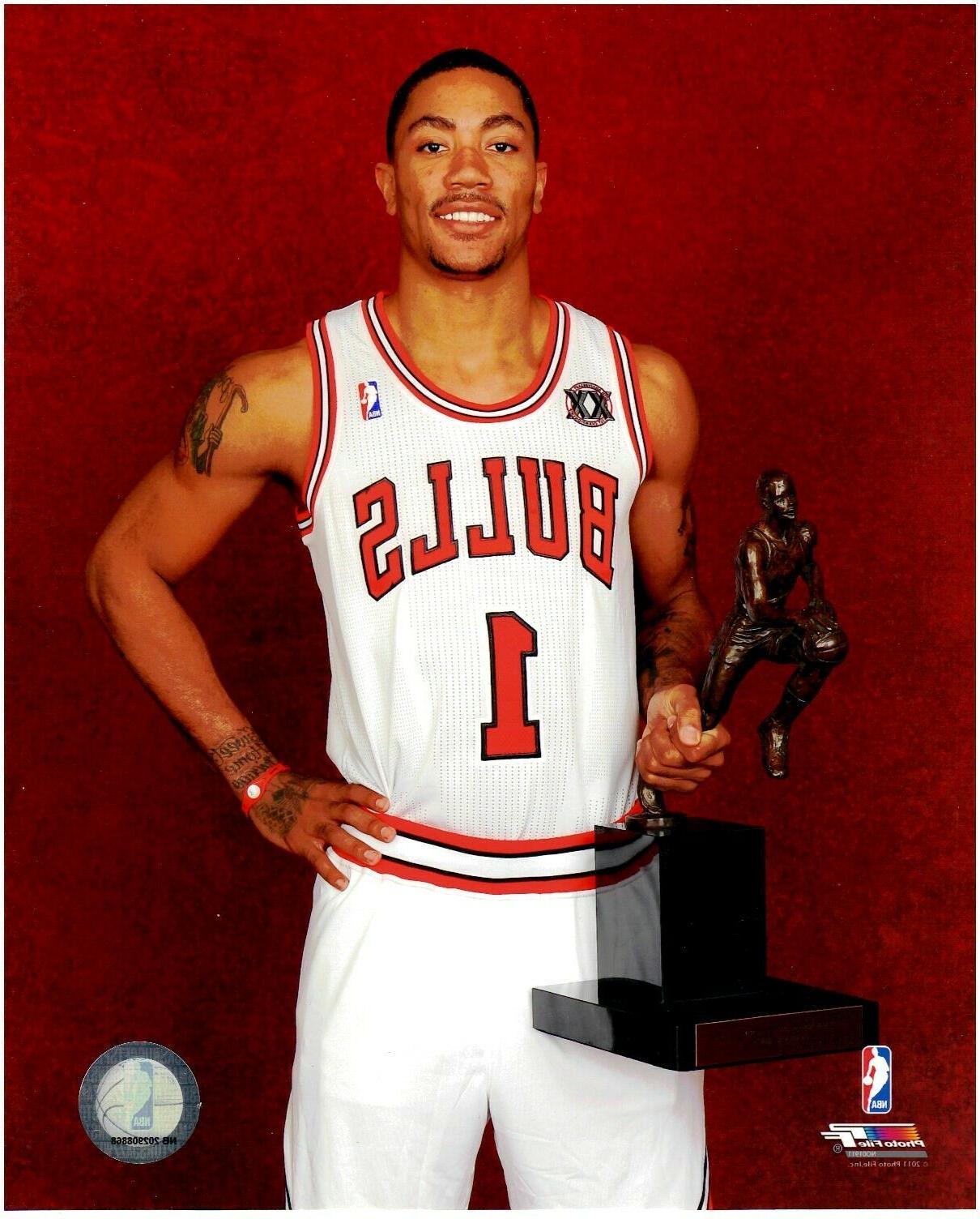 derrick rose chicago bulls licensed 8x10 basketball