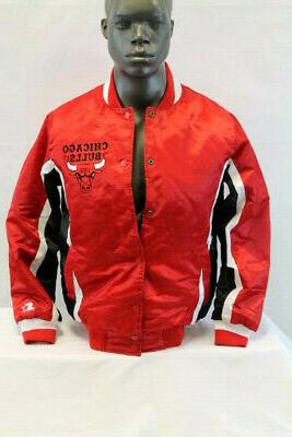 nba chicago bulls satin bomber jacket red