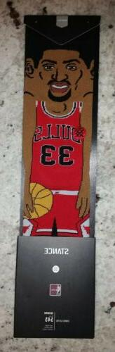Scottie Pippen Chicago Bulls #33 Cartoon Stance NBA Socks Me