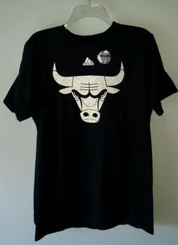 ADIDAS Men's NBA CHICAGO BULLS Reflective BLACK T-Shirt SMAL