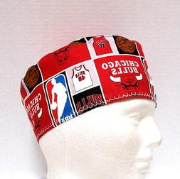 Mens Chicago Bulls Surgical Scrub Hat, Chemo Hat, Skull Scru