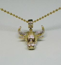 MIP-Gold Tone Chicago Bulls logo Pendant w/cz stones and a 3