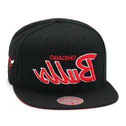 Mitchell & Ness Chicago Bulls Snapback Hat Cap Black/Red Scr