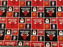 "NBA Chicago Bulls 100% Cotton Fabric 18"" x 21""  FQ"