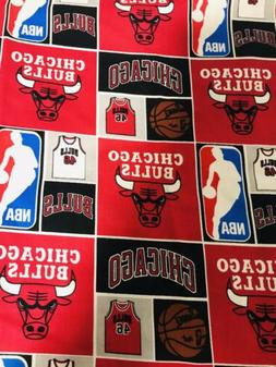 "NBA Chicago Bulls  Cotton Fabric 1/4 Yard 9""x 44"""