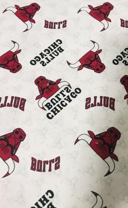 NBA Chicago Bulls Logo Mascot White Cotton Fabric 1/4 Yard 9