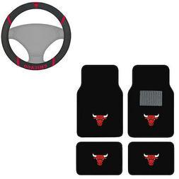 New 5pc NBA Chicago Bulls Car Truck Floor Mats & Steering Wh