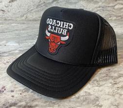 NEW CHICAGO BULLS BLACK CAP HAT 5 PANEL HIGH CROWN TRUCKER S