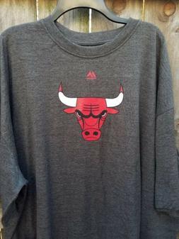 NEW NWT Majestic Chicago Bulls 3XL Gray Tshirt Mens NBA Offi