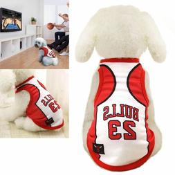 Pet Dogs Bulls Basketball Team Jersey Puppy Fans Vest Sport