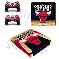 PS4 Slim Console Skin Decals NBA Chicago Bulls Vinyl  Sticke