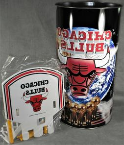 Vintage 1990 Chicago Bulls Metal Waste Basket Trash Can - Ba